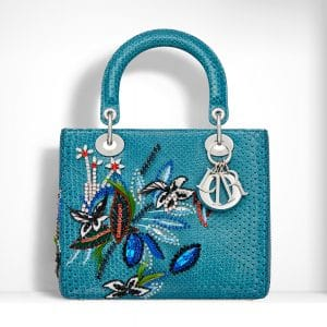 Dior Blue Python Embroidered with Crystals Lady Dior Bag