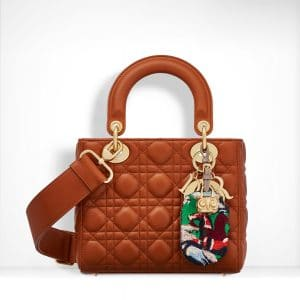 Dior Cinnamon-Coloured Lambskin with Embroidered Address Tag Lady Dior Bag