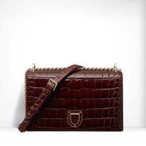 Dior Glossy Brown Alligator Diorama Bag