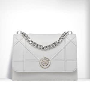 Dior Glossy White Crinkled Lambskin Diorama Satchel Bag