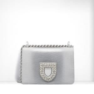 Dior Graded White/Silver Metallic Lizard Diorama Club Bag