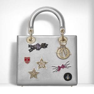 Dior Metallic Grained Leather Embroidered with Badges Lady Dior Bag
