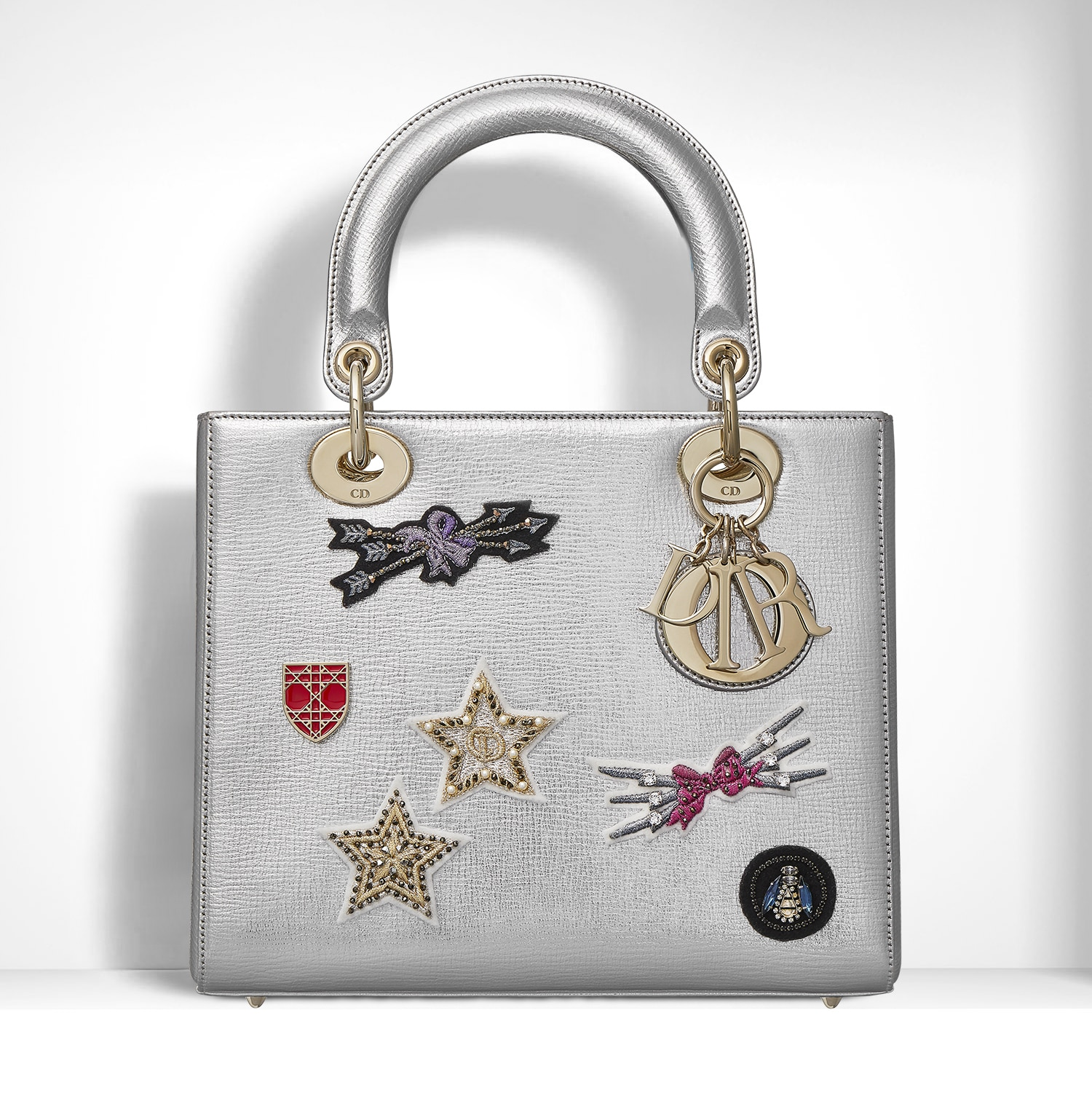 5707ad46af96 Dior Metallic Grained Leather Embroidered with Badges Lady Dior Bag