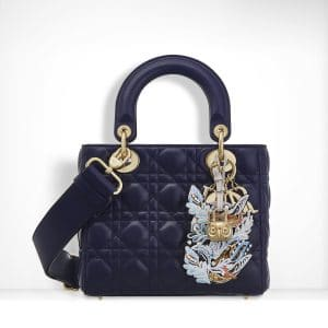 Dior Midnight Blue Lambskin with Embroidered Address Tag Lady Dior Bag