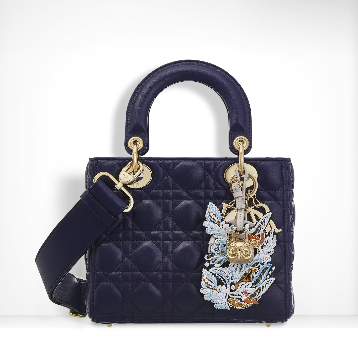 Dior Midnight Blue Lambskin With Embroidered Address Tag Lady Bag