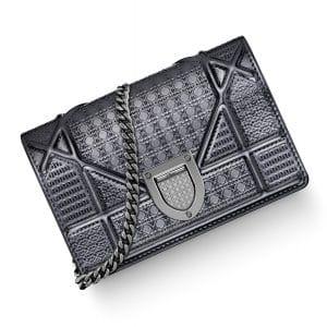Dior Onyx Black Metallic Diorama Baby Pouch Bag