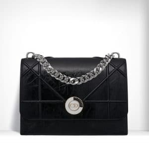 Dior Shiny Black Crinkled Lambskin Diorama Satchel Bag