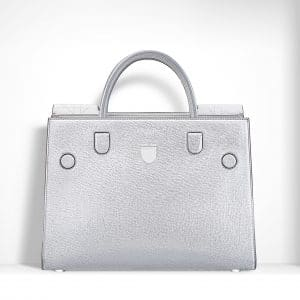 Dior Silver-Tone Grained Leather and White Lambskin Diorever Bag