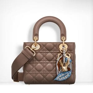 Dior Taupe Lambskin with Embroidered Address Tag Lady Dior Bag