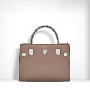 Dior Taupe Smooth Calfskin and Metallic Grained Leather Mini Diorever Bag