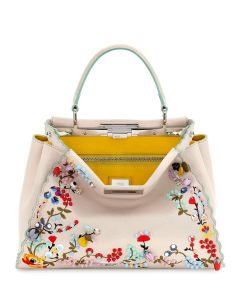 Fendi Beige Floral Embroidered Large Peekaboo Bag