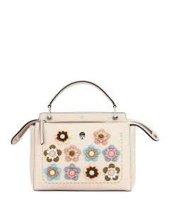 Fendi Beige Flower Studded Medium Dotcom Bag