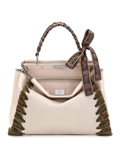Fendi Beige Ribbon Whipstitch Medium Peekaboo Bag