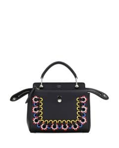 Fendi Black Embroidered Mini Dotcom Bag