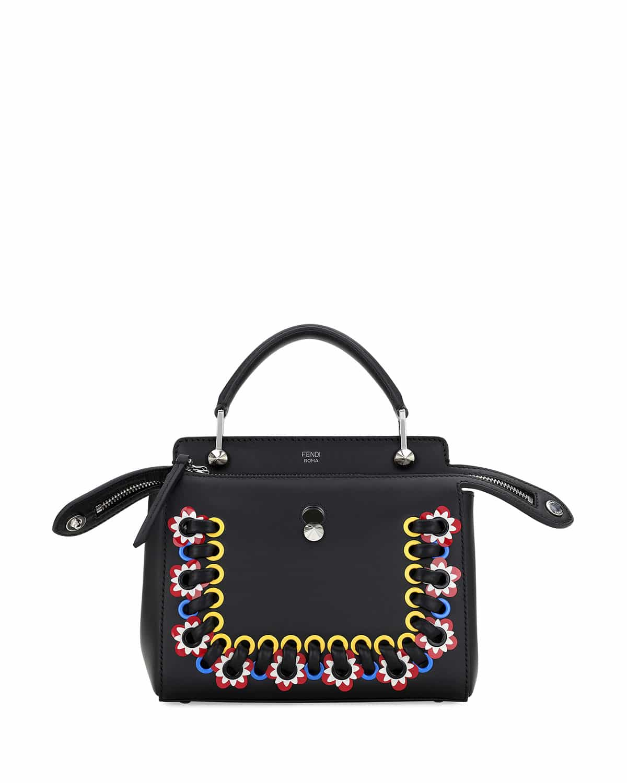 7e054b5f4d ... shop fendi black embroidered mini dotcom bag 7cc3f 6d945 ...