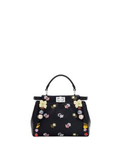 Fendi Black Floral Embroidered Mini Peekaboo Bag