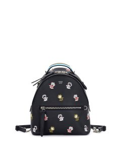 Fendi Black Floral Embroidered Mini Zaino Backpack Bag