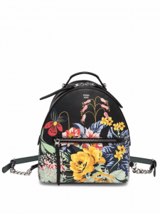 Fendi Black Floral Printed Zaino Backpack Bag