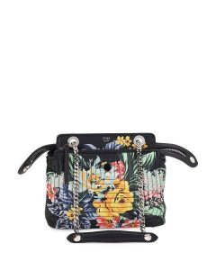 Fendi Black Floral Quilted Chain Small Dotcom Bag