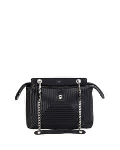 Fendi Black Quilted Chain Medium Dotcom Bag