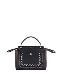 Fendi Black/Brown/White Colorblock Whipstitch Medium Dotcom Bag
