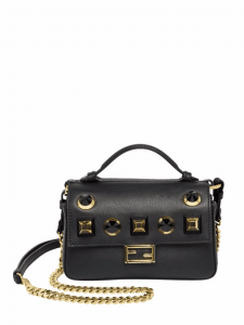 Fendi Black/Gold Studded Double Micro Baguette Bag