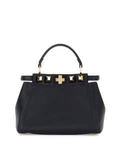 Fendi Black/Gold Studded Mini Peekaboo Bag