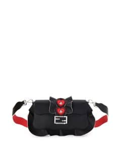 Fendi Black/Red/Bordeaux Heart Stud Baguette Wave Bag