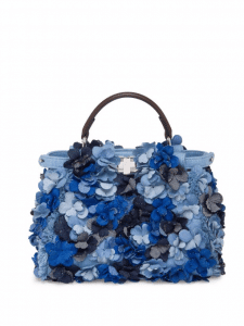 Fendi Blue Floral Denim Peekaboo Bag