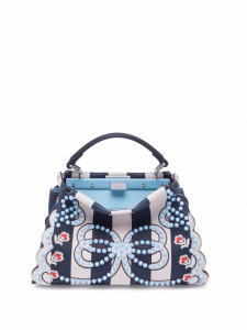 Fendi Blue Multicolor Studded Stripe Mini Peekaboo Bag