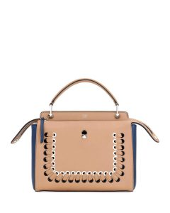 Fendi Brown/Blue Colorblock Whipstitch Medium Dotcom Bag