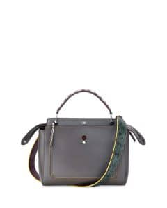 Fendi Dark Gray Snakeskin-Trim Medium Dotcom Bag