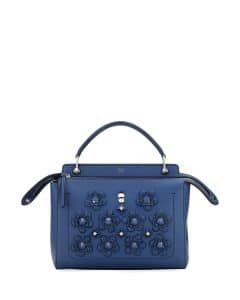 Fendi Denim Blue Flower Studded Medium Dotcom Bag