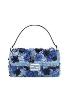 Fendi Denim Flowers Baguette Bag