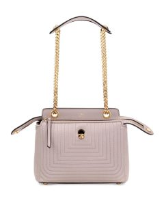 Fendi Gray Quilted Chain Medium Dotcom Bag