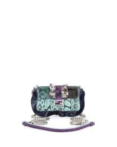 Fendi Green/Teal/Blue/Purple Snakeskin Micro Baguette Wave Bag