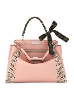 Fendi Light Pink Ribbon Whipstitch Medium Peekaboo Bag