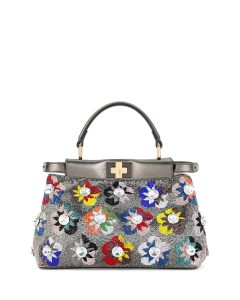 Fendi Multicolor Floral Beaded Mini Peekaboo Bag