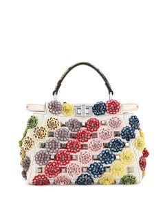 Fendi Multicolor Floral Canvas Mini Peekaboo Bag