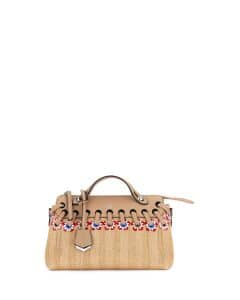 Fendi Natural Floral Straw Small By The Way Bag