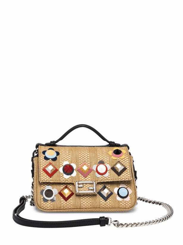 0c8e2b8ecf20 Fendi Natural Floral Studded Straw Double Micro Baguette Bag