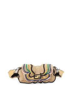 Fendi Natural Heart-Stud Raffia Baguette Wave Bag