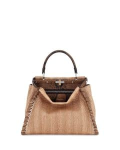 Fendi Natural/Brown Straw and Python Whipstitch Medium Peekaboo Bag