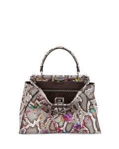 Fendi Natural/Multicolor Floral Python Medium Peekaboo Bag