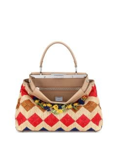 Fendi Natura/Multicolor Floral Raffia Medium Peekaboo Bag