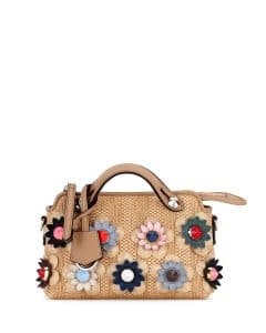 Fendi Natural/Multicolor Floral Straw Mini By The Way Bag