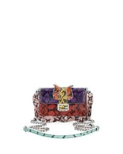 Fendi Purple/Orange/Red/Yellow Snakeskin Micro Baguette Wave Bag
