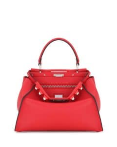 Fendi Red Studded Medium Peekaboo Bag