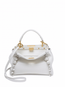Fendi White Floral Embellished Mini Peekaboo Bag