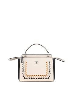 Fendi White/Black/Yellow Colorblock Whipstitch Medium Dotcom Bag